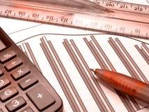 kalkulatora wykresu pióra czerwieni władca Zdjęcie Stock