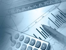 kalkulatora wykresu pióra władca Zdjęcie Stock