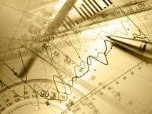 kalkulatora wykresu pióra władca Zdjęcie Royalty Free