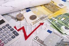 kalkulatora wykresu pieniądze Zdjęcie Royalty Free