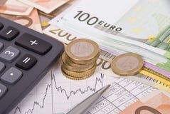 kalkulatora wykresu pieniądze pióro Obraz Stock