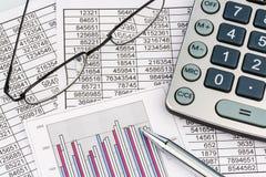 Kalkulatorzy i statistk obrazy royalty free
