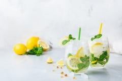 Kall alkoholmojitococtail, dryck för lång drink, lemonad royaltyfria bilder