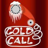 Kall appell för ledningsutveckling Telefonlurtelefonen är i is och snö Rött och vitt konstplakat royaltyfri illustrationer