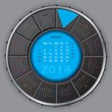 Kall digital rotateable kalender för 2014 Arkivfoto