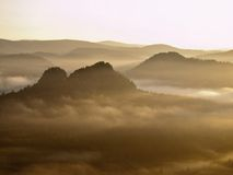 Kall dimmig soluppgång i en nedgångdal av Sachsen Schweiz parkerar Sandstenmaxima ökande från dimma, dimman färgas till apelsinen Arkivfoto