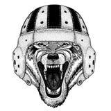 Kall djur bärande Wolf Dog Wild för sport för rugbyhjälm extrem djur hand dragen illustration för tatueringen, emblem, emblem vektor illustrationer