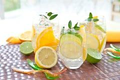 Kall drink med citroner och apelsiner arkivfoto