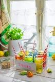 Kall drink med sugrör och frukter arkivbild