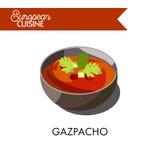 Kall gazpachosoppa från europeisk kokkonst isolerade illustrationen vektor illustrationer