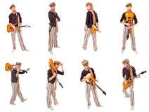 Kall gitarrist royaltyfri bild