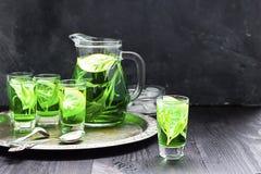 Kall gr?n drink f?r sommar med dragon, mintkaramellen och citronen i exponeringsglaskaraff och sm? skott med is, en i fokus i fok arkivfoton