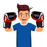 Kall liten boxare Sportbegrepp stock illustrationer