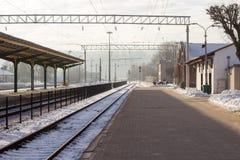 Kall morgon i Kaunas drevstation Arkivbild