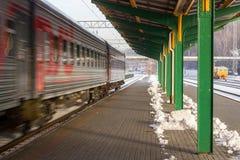 Kall morgon i Kaunas drevstation Arkivfoto