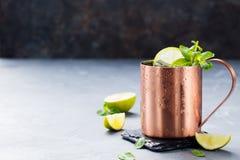 Kall Moskvamulacoctail med ingefärsdricka, vodka, utrymme för kopia för bakgrund för limefruktgrå färgsten Fotografering för Bildbyråer