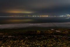 Kall natt runt om sjön Bourgas Fotografering för Bildbyråer