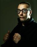 Kall nerd i exponeringsglas arkivfoto