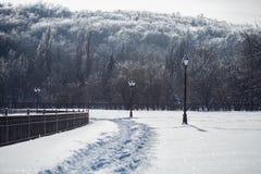 Kall och snöig vinterdag Fotografering för Bildbyråer