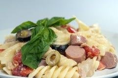 Kall pasta i plattan Fotografering för Bildbyråer