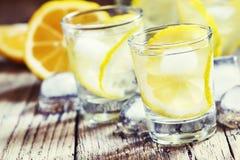 Kall rysk vodka med citronen och is i skottexponeringsglas, tappning uppvaktar royaltyfria foton