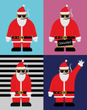 Kall Santa With Hipster Glasses Flat illustration Fotografering för Bildbyråer