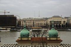 Kall sikt av den Budapest stadsspårvagnen och floden royaltyfria bilder