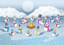 Kall snö branden ger värme till snön vektor illustrationer