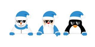 Kall snögubbe santa och pingvintecknad film med solglasögon i blått c royaltyfri illustrationer