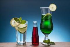 Kall sodavatten med citronen och mintkaramell, röd italiensk aperitif och mintkaramell l Arkivbild