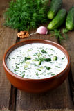 Kall sommarsoppa med yoghurt Arkivfoto