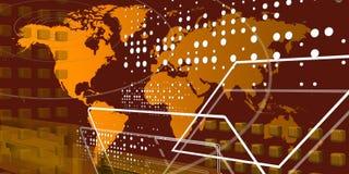 Kall teccnological värld över guld- översikt royaltyfri bild