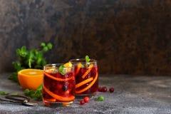 Kall tranb?rfruktsaft med apelsinen och mintkaramellen royaltyfri bild