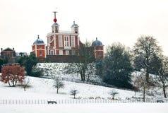 kall vinter för daggreenwich observatorium Royaltyfri Foto