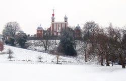 kall vinter för daggreenwich observatorium Royaltyfria Bilder