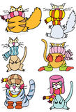 kall vinter för katter royaltyfri illustrationer
