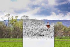 Kall vinter och varm sommar i ett foto Fotografering för Bildbyråer