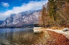 Kall vintermorgon på Bohinj sjön i den Triglav nationalparken Royaltyfri Bild