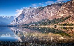 Kall vintermorgon på Bohinj sjön i den Triglav nationalparken Royaltyfri Foto