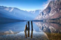 Kall vintermorgon på Bohinj sjön i den Triglav nationalparken Fotografering för Bildbyråer