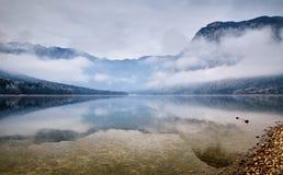 Kall vintermorgon på Bohinj sjön i den Triglav nationalparken Royaltyfria Bilder
