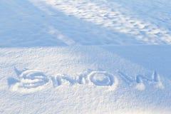 Kalla bokstäver av SNÖ spårade in i nytt snöfall Royaltyfri Foto