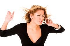 kalla den mobila telefonkvinnan Royaltyfria Bilder