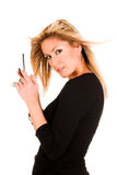 kalla den mobila telefonkvinnan Royaltyfri Foto