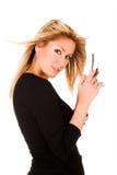 kalla den mobila telefonkvinnan Arkivbilder
