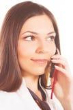 kalla den mobila telefonkvinnan Arkivfoto