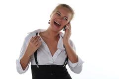 kalla den mobila telefonkvinnan Royaltyfri Bild