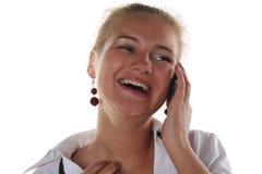 kalla den mobila telefonkvinnan Arkivfoton