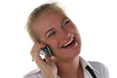 kalla den mobila telefonkvinnan Fotografering för Bildbyråer