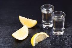 Kalla exponeringsglas av vodka med skivor av citronen fotografering för bildbyråer